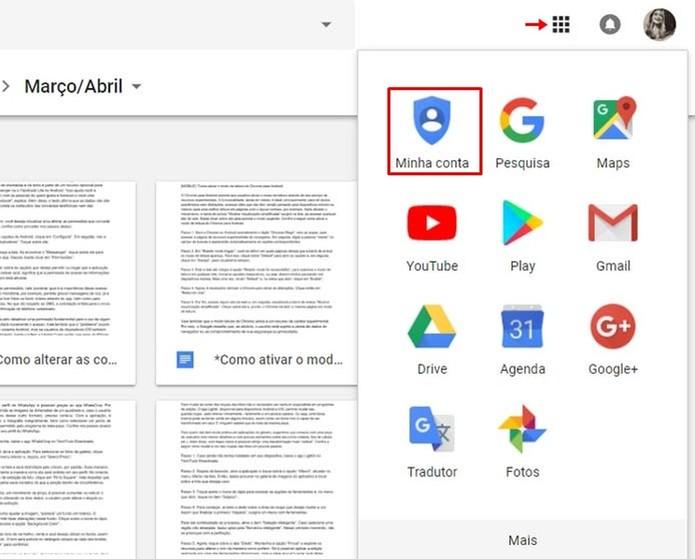 Acesse as opções da sua conta do Google (Foto: Reprodução/Taysa Coelho)