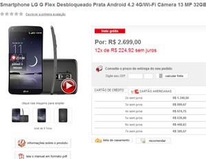 Sites já vendem LG Flex no Brasil por R$ 2,7 mil (Foto: Reprodução/Americanas.com)