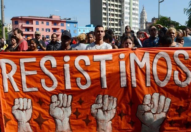 Manifestação de moradores e comerciantes da região da Luz após ação da Prefeitura de São Paulo na Cracolândia (Foto: Rovena Rosa/Agência Brasil)