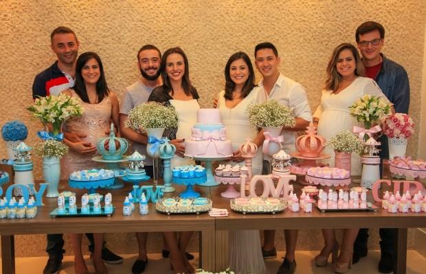 Na foto aparecem juntamente com seus esposos: Ana Karina, Fernanda Monteiro, Tatiane Santos e Mirielly de Castro (Foto: Reprodução TV Diário / Kenzo)