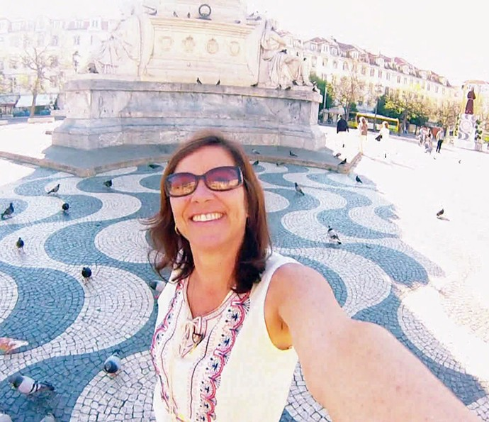 Regina Célia realiza sonho de conhecer Portugal (Foto: TV Globo)