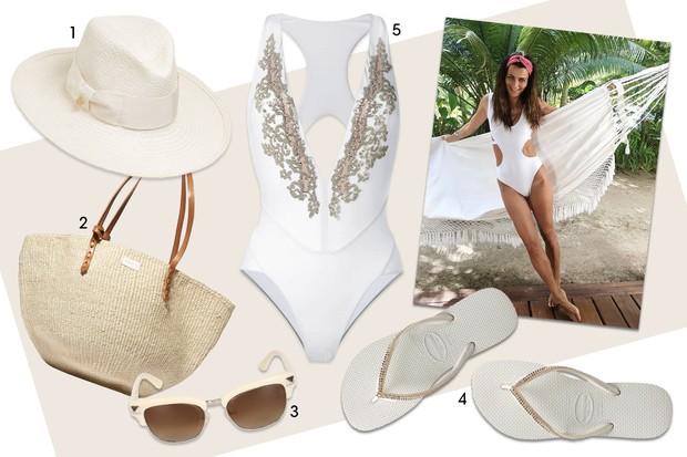 Praia: chapéu Federica Moretti, R$ 755 (Luisaviaroma.com); (2) bolsa Clare V, US$ 200 (Net-a-porter.com); (3) óculos Valentino, R$ 1.036 (Luisaviaroma.com); (4) sandália Havaianas, R$ 274,90 (Loja.havaianas.com.br); e (5) maiô La Perla, R$ 9.250 (Farfetch (Foto: Arte Vogue Online)