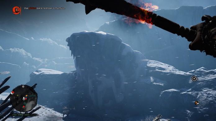 Far Cry Primal: derrube as plataformas de gelo sobre o animal (Foto: Reprodução/Victor Teixeira)