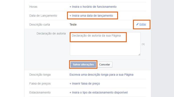 Adicione as demais informações uma a uma na Página do Facebook (Foto: Reprodução/Barbara Mannara)