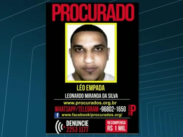 Leonardo Miranda da Silva, conhecido como Léo Empada, é um dos suspeitos de participar da disputa pelo tráfico no Morro do Turano (Foto: Reprodução/TV Globo)