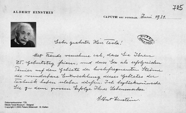 Carta de Einstein para Tesla (Foto: Reprodução/Arquivos de Tesla)