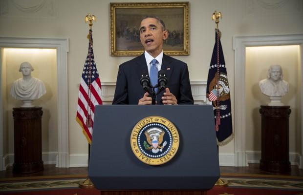 O presidente dos Estados Unidos, Barack Obama, discursa sobre a nova política americana para Cuba (Foto: Doug Mills/AP)