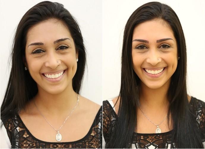 Amanda mostra o antes e depois da micropigmentação (Foto: Carol Caminha/Gshow)