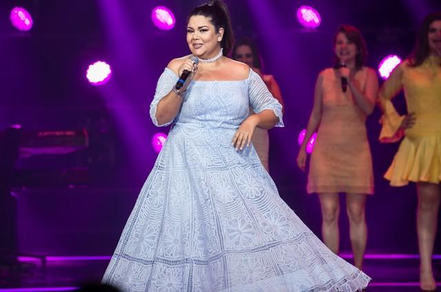 Fabiana Karla no palco do 'Popstar' (Foto: Globo / Isabella Pinheiro)