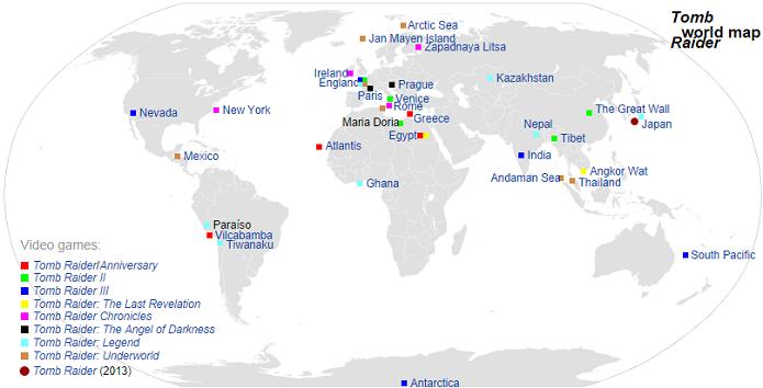 Mapa mostra diversos locais que Lara já visitou (Foto: Reprodução/Wikimedia)