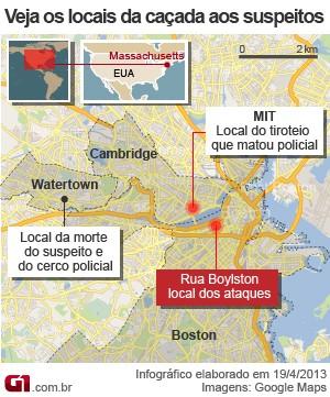 mapa perseguição boston (Foto: AP)