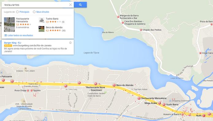 Google Maps localiza o termo da busca em sua vizinhança (Foto: Reprodução/Carol Danelli)
