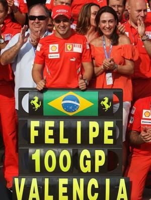 Felipe Massa 100 GPs Valência 2008 Fórmula 1 Ferrari (Foto: Agência Getty Images)