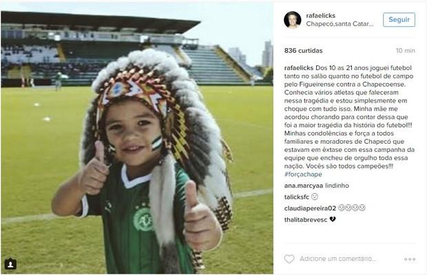 Rafael Licks lamenta tragédia com vôo da Chapecoense (Foto: Instagram / Reprodução)
