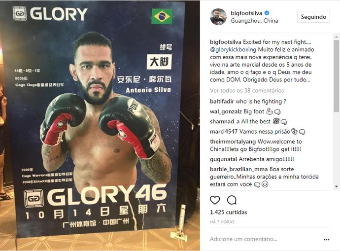 Em má fase no MMA, Antônio Pezão lutará o Glory 46, evento de kickboxing  (Foto: Reprodução/Instagram)