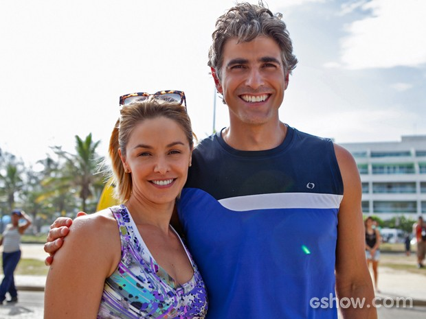 Gianecchini posou com Bianca Rinaldi para a foto (Foto: Inácio Moraes/ TV Globo)