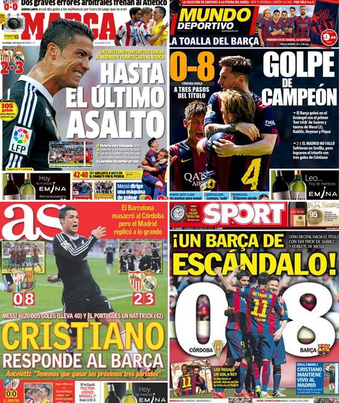 Capa jornais real madrid x barcelona