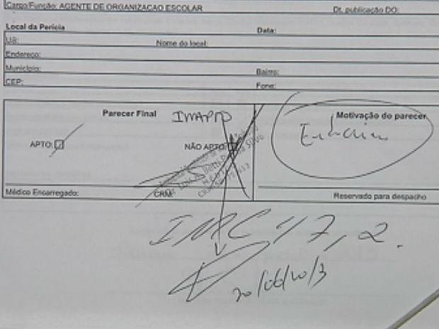 Assistente administrativo teve o exame rasurado pela perícia técnica (Foto: Reprodução/TV Tem)