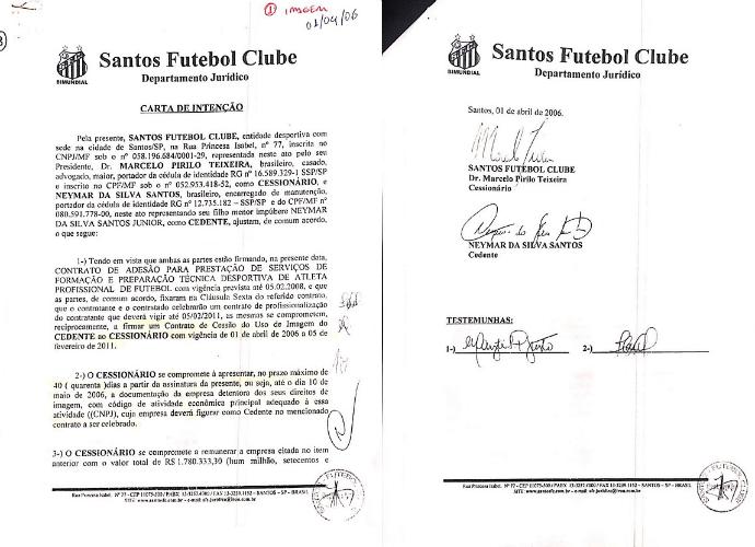 Documento - site oficial Neymar 01 (Foto: Reprodução)