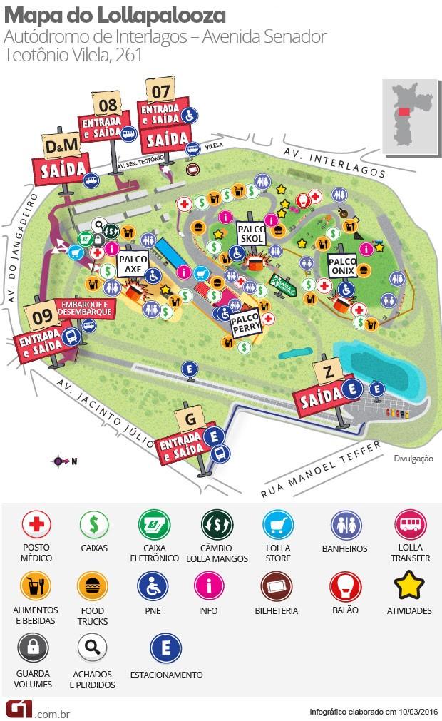 Mapa do Lollapalooza mostra palcos e outras áreas do festival no Autódromo de Interlagos (Foto: G1)