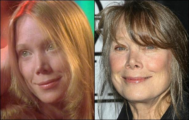 Sissy Spacek aos 26 anos, no papel que lhe abriu portas em Hollywood, 'Carrie, a Estranha' (1976), e hoje, aos 64 anos de idade. (Foto: Divulgação e Getty Images)