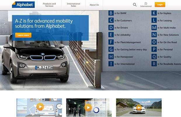 'Alphabet.com' pertence à montadora BMW, que também detém a marca; Google criou holding com o mesmo nome que será dona das várias empresas e projetos. (Foto: Reprodução/Alphabet.com)