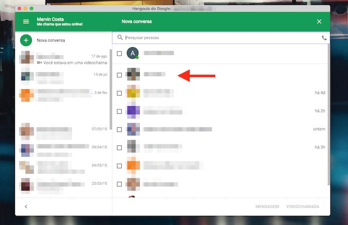 Definição de um amigo para conversar por chat do Google Hangouts para Google Chrome (Foto: Reprodução/Marvin Costa)