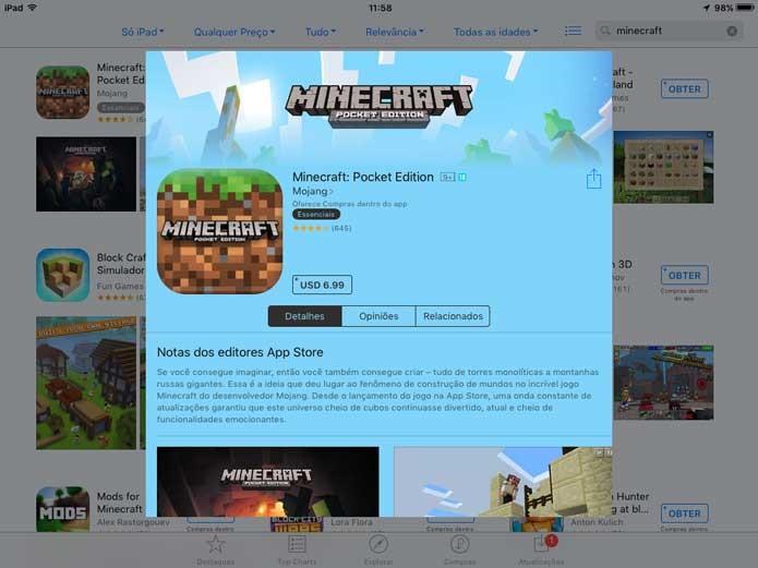 Minecraft Pocket na App Store do iOS (Foto: Reprodução/Felipe Vinha)