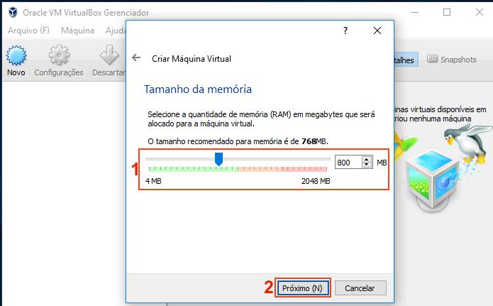 Definindo a quantidade de memória a ser usada pela máquina virtual (Foto: Reprodução/Edivaldo Brito)