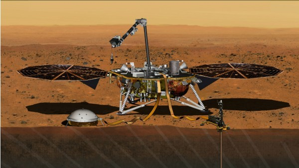 Modelo do InSight, que seria enviado a Marte em 2016 (Foto: NASA JET PROPULSION LABORATORY / via SCIENCEMAG)
