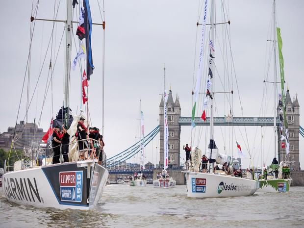 Primeira etapa da corrida ia de Londres ao Rio de Janeiro (Foto: Chris Ison/PA via AP)