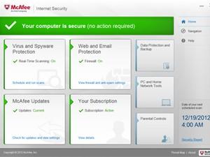 Tela do McAfee Internet Security, programa de segurança digital (Foto: Divulgação/McAfee)