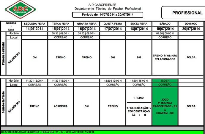 Cronograma de treinos da Cabofriense antes da estreia na Série D (Foto: Divulgação)