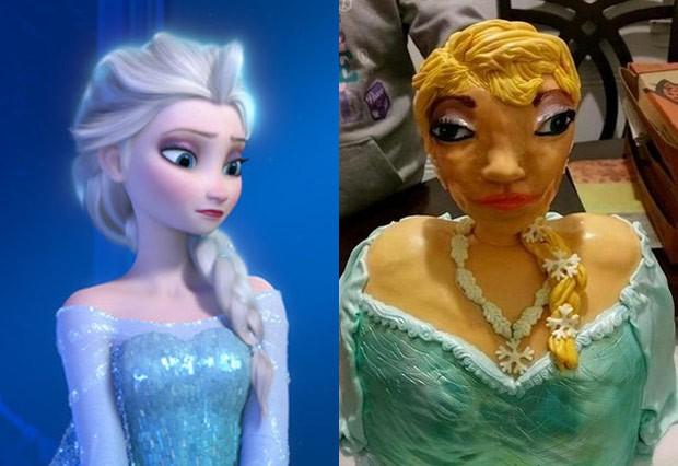 Bolo deveria ficar parecido com a rainha Elsa, de Frozen  (Foto: Reprodução/Reddit/Gamebag1)