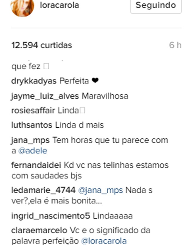 Comentários em post de Carolina Dieckmann (Foto: Reprodução/Instagram)
