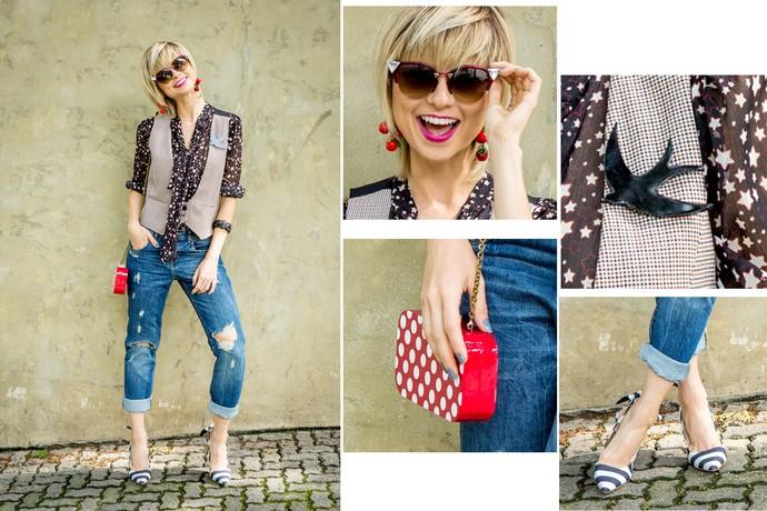 Look vencedor tem jeans rasgado, estrelas, colete, broche de passáro, bolsa com poás, brincos de frutinhas <3 (Foto: Fabiano Battaglin / Gshow)