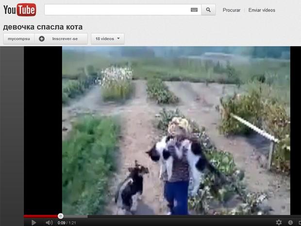 Garotina tenta resgatar seu gato (Foto: Reprodução)