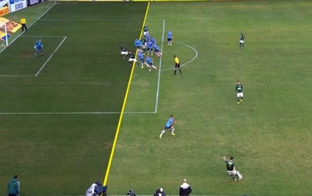 No detalhe Grêmio Palmeiras gol anulado (Foto: Reprodução SporTV)