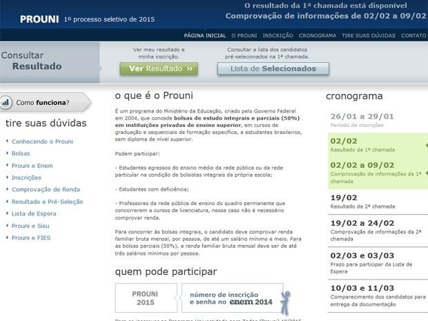 Candidatos podem conferir o resultado no site do Prouni (Foto: Reprodução/Inep)