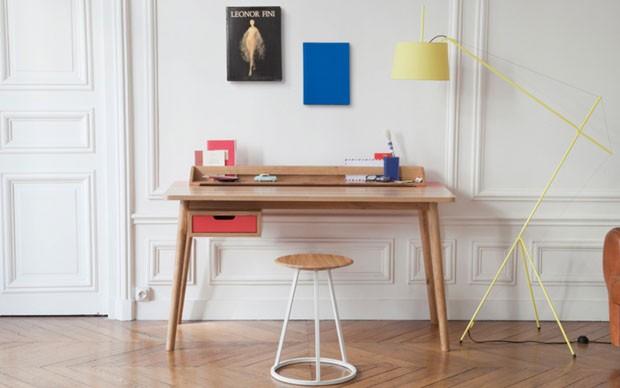 Décor do dia: pontos coloridos no home office branco (Foto: reprodução)