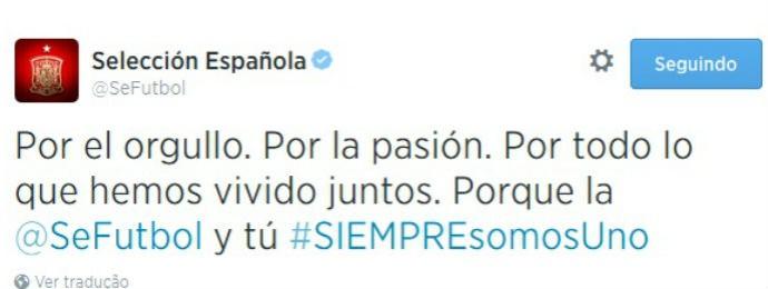 espanha convoca torcida pelo twitter (Foto: Reprodução Twitter)