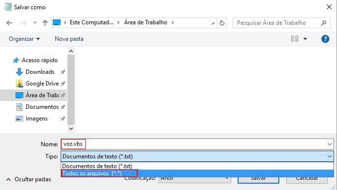 Arquivo precisa ser salvo em formato vbs para funcionar (Foto: Reprodução/Windows)