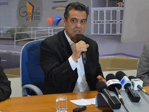 Marcelo Barbieri durante coletiva de imprensa após prisão de ex-secretário em Araraquara, SP (Foto: Felipe Turioni/G1)