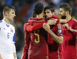 Diego Costa  Espanha x Luxemburgo (Foto: EFE)