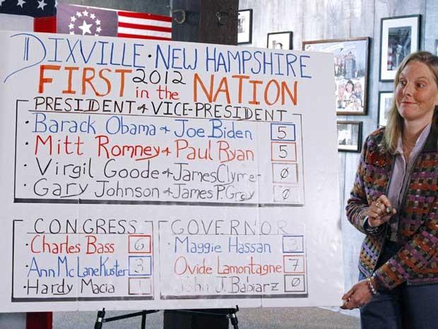 Dixville Notch, em New Hampshire, começou votação no 1º minuto desta terça (6). Obama e Romney receberam 5 votos cada. (Foto:  Herb Swanson / Reuters)