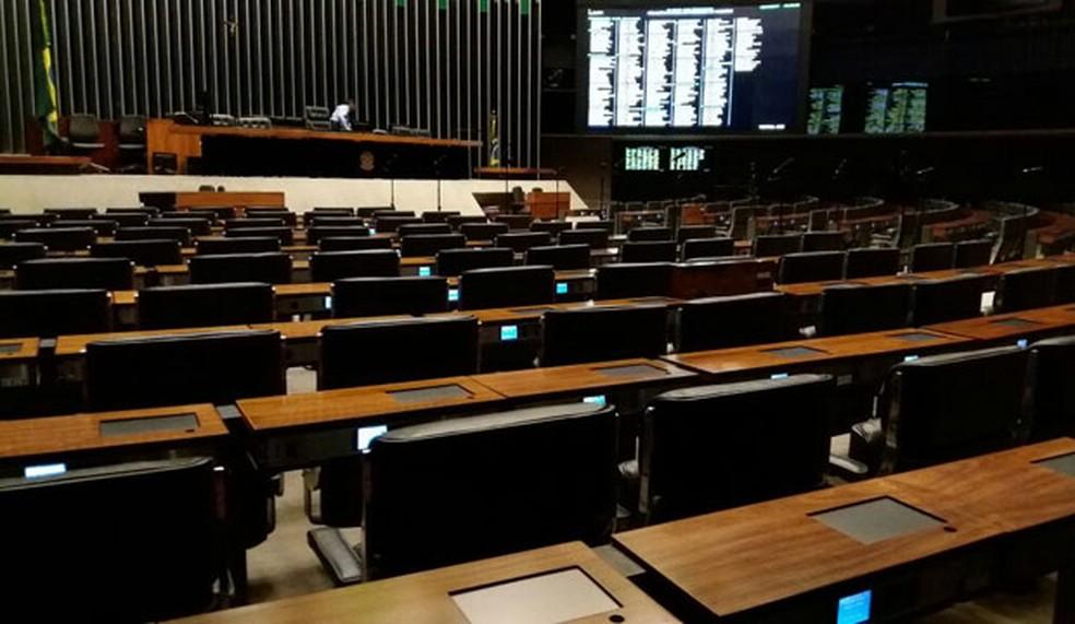 Durante a tarde desta quarta-feira, já não havia mais atividade no plenário da Câmara (Foto: Bernardo Caram/G1)