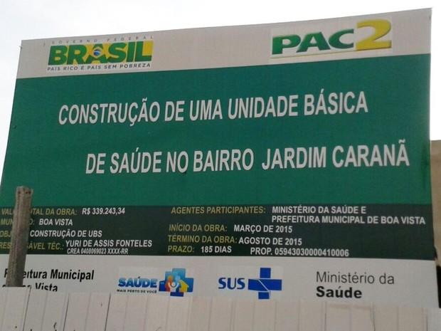 Obra do bairro Jardim Caranã teve início em março de 2015 e deveria ter sido concluída em agosto do mesmo (Foto: Jonathan Souza/VC no G1)