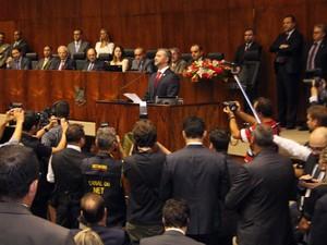 Edegar Pretto (PT) assumiu presidência da Assembleia Legislativa do Rio Grande do Sul nesta terça-feira (Foto: Claudio Fachel, divulgação/Agência ALRS)