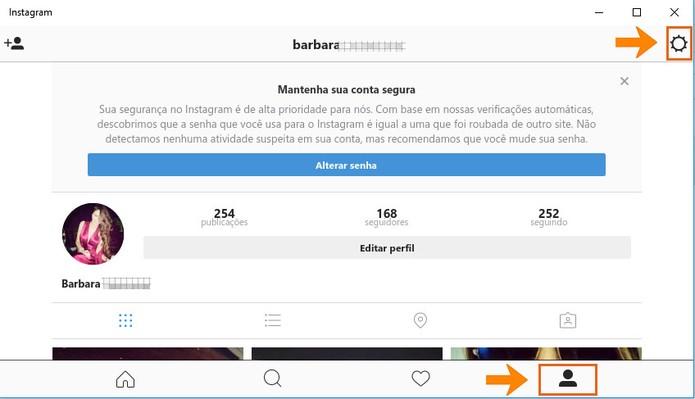 Acesse seu perfil do Instagram e depois as configurações (Foto: Reprodução/Barbara Mannara)