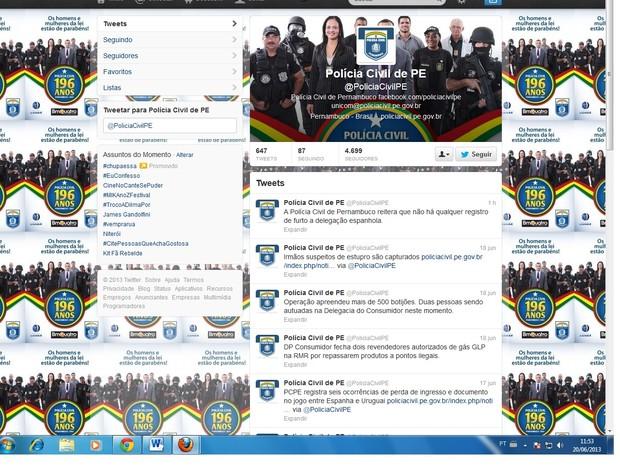 Twitter da Polícia Civil de Recife (Foto: Reprodução / Twitter)